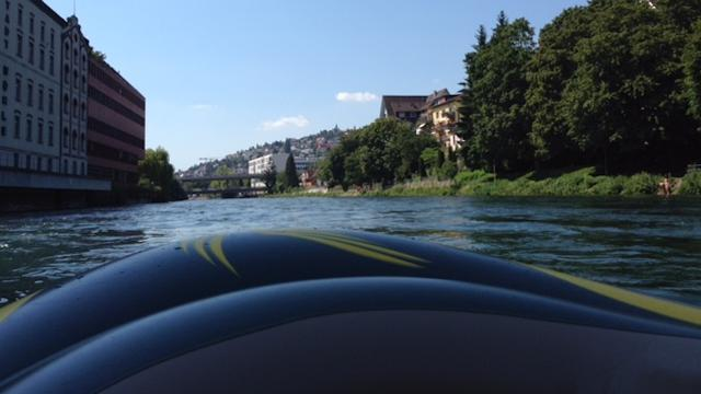 Rubber boat in the heart of Zurich