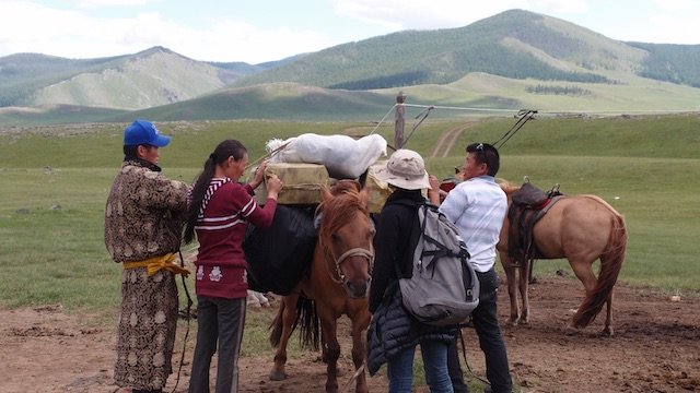 Preparation of a great tour with horses through the steppes of Mongolia. Fair traveling supports the local communities.