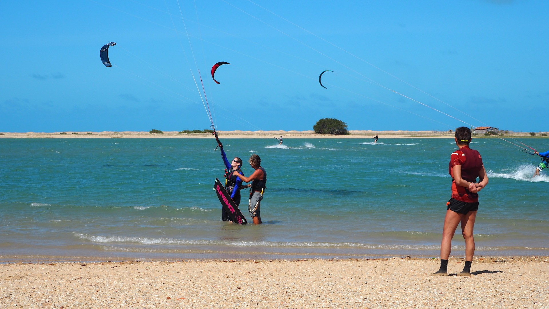 Ilha Do Guajiru is a perfect spot to learn kiting. Shallow water, and constant steady wind.
